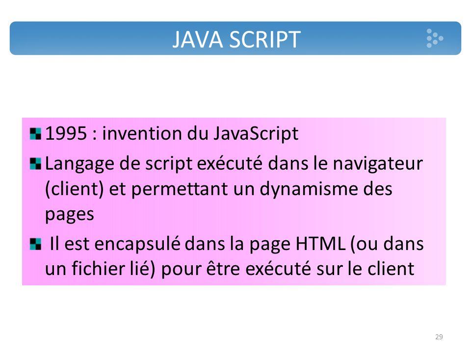 JAVA SCRIPT 1995 : invention du JavaScript