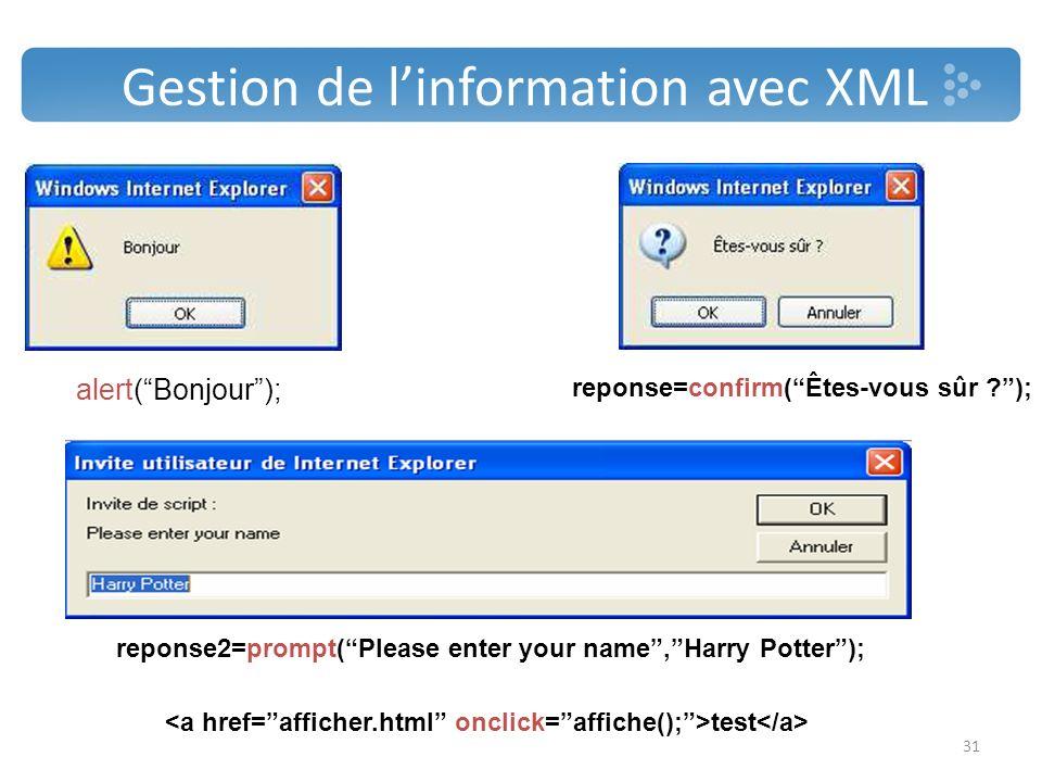 Gestion de l'information avec XML