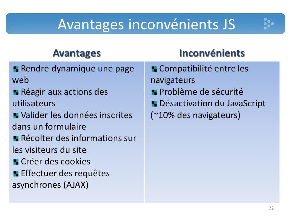 Avantages inconvénients JS