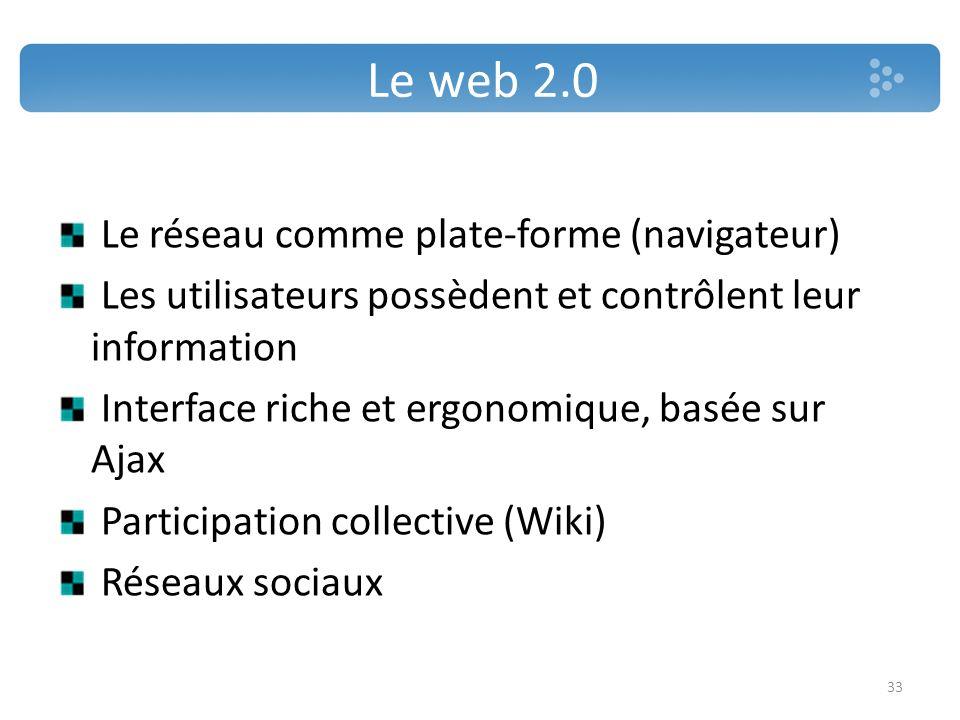 Le web 2.0 Le réseau comme plate-forme (navigateur)