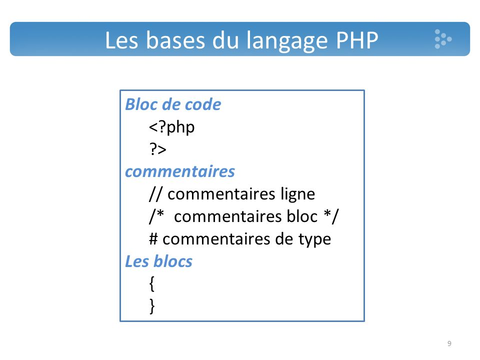 Les bases du langage PHP