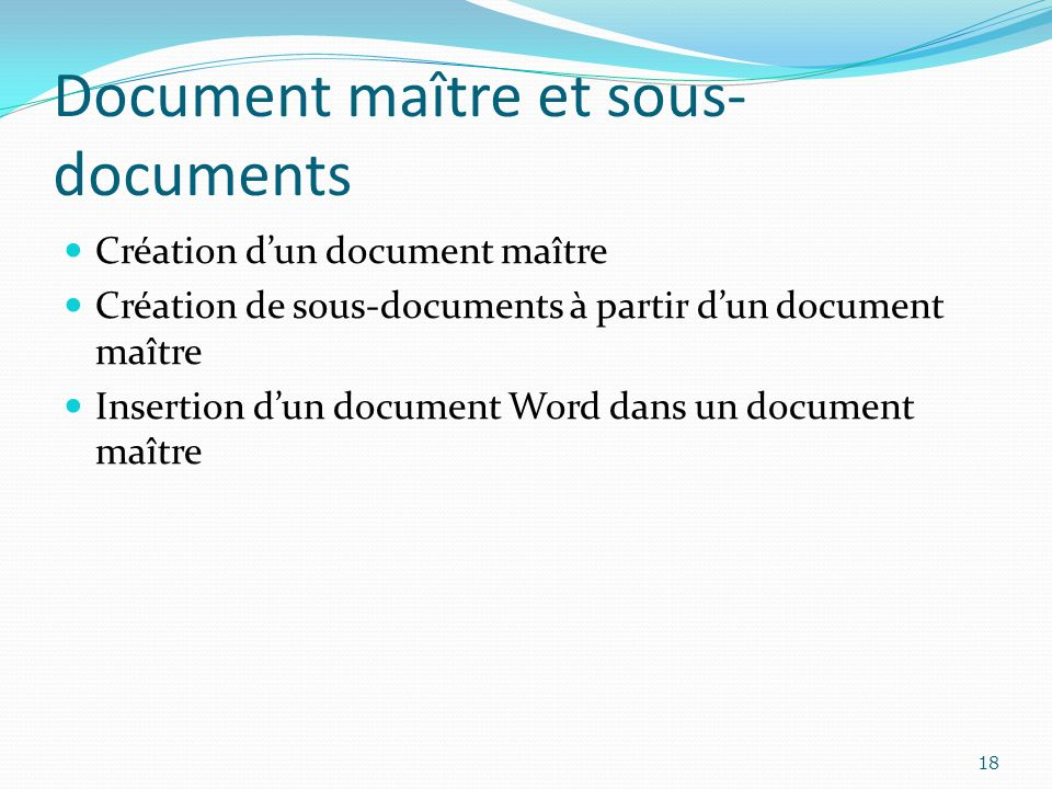 Document maître et sous-documents