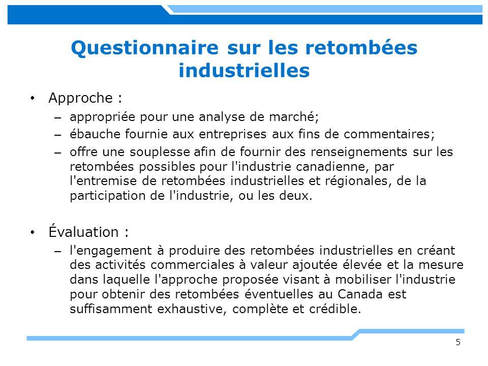 Questionnaire sur les retombées industrielles