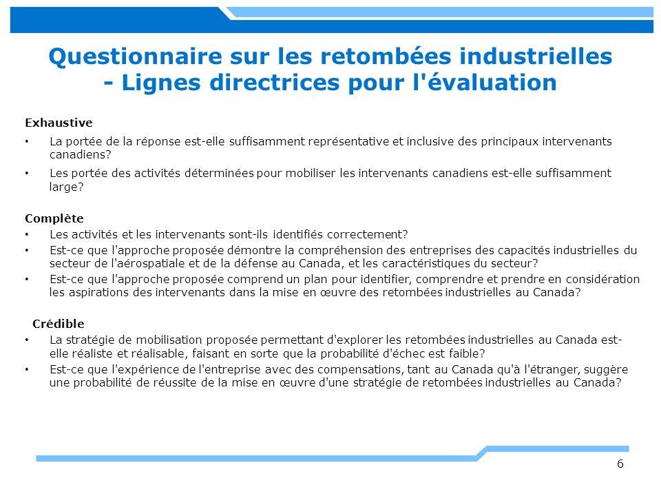 Questionnaire sur les retombées industrielles - Lignes directrices pour l évaluation