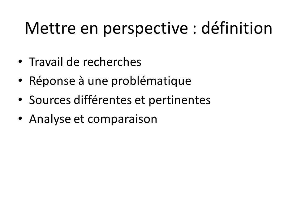 Mettre en perspective : définition