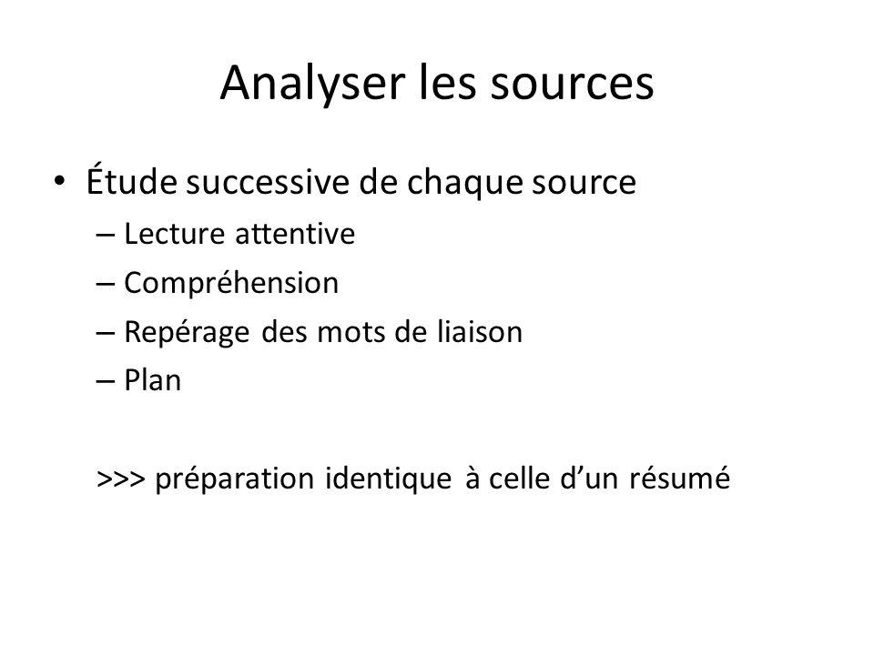 Analyser les sources Étude successive de chaque source