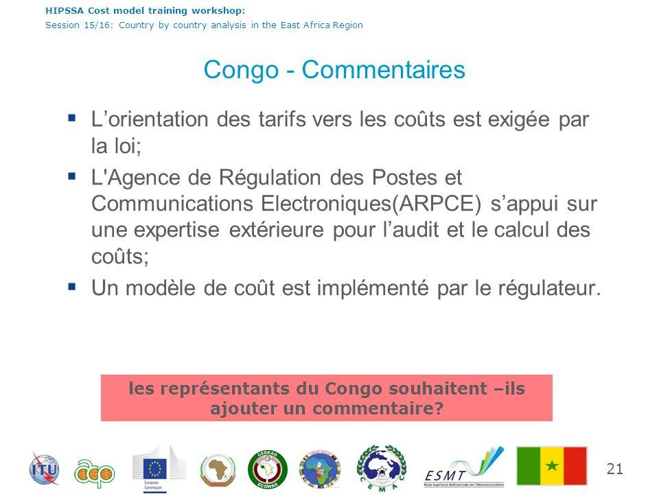 les représentants du Congo souhaitent –ils ajouter un commentaire