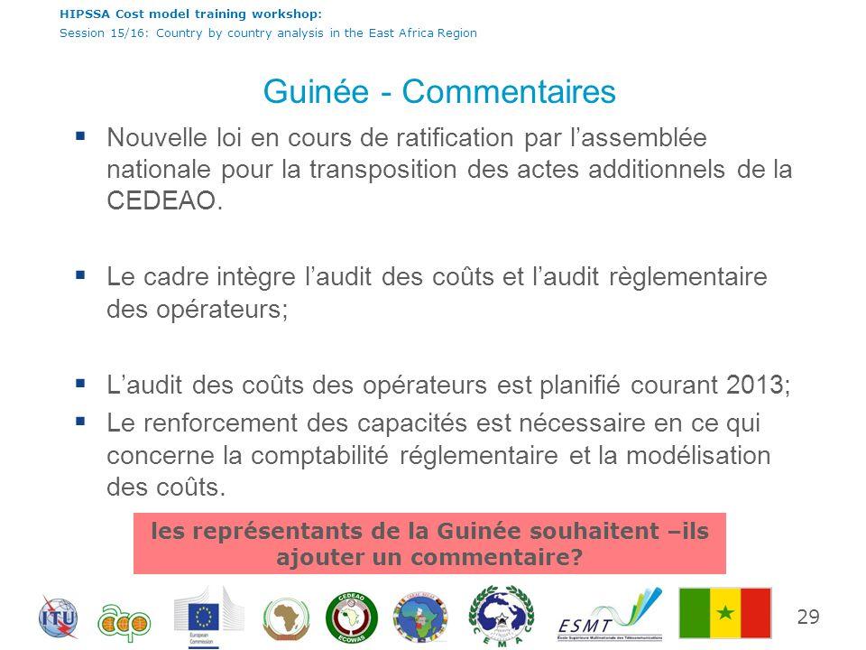 les représentants de la Guinée souhaitent –ils ajouter un commentaire