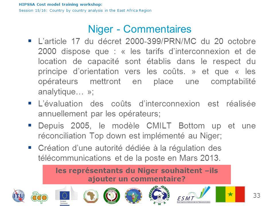 les représentants du Niger souhaitent –ils ajouter un commentaire