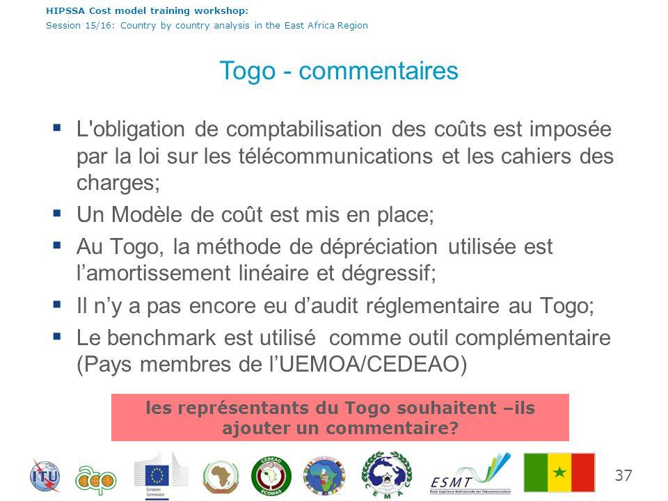 les représentants du Togo souhaitent –ils ajouter un commentaire