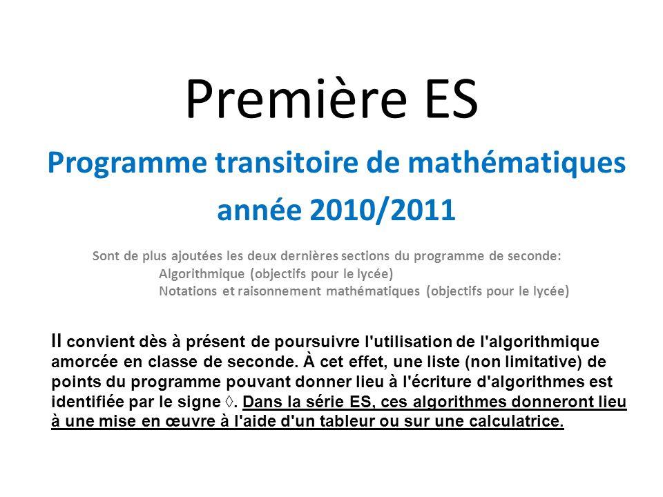 Programme transitoire de mathématiques année 2010/2011