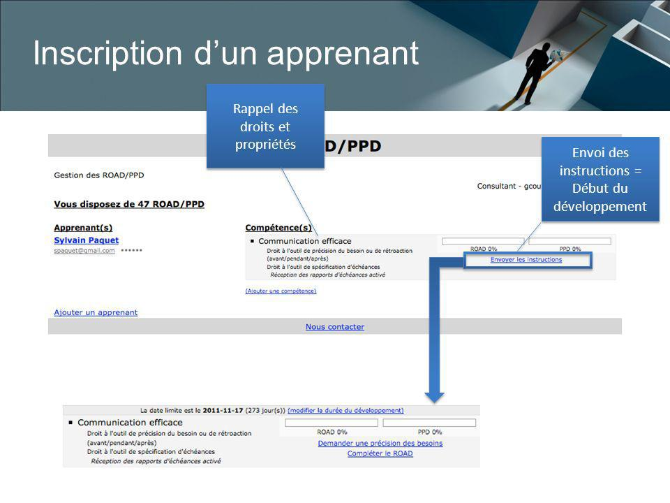 Inscription d'un apprenant