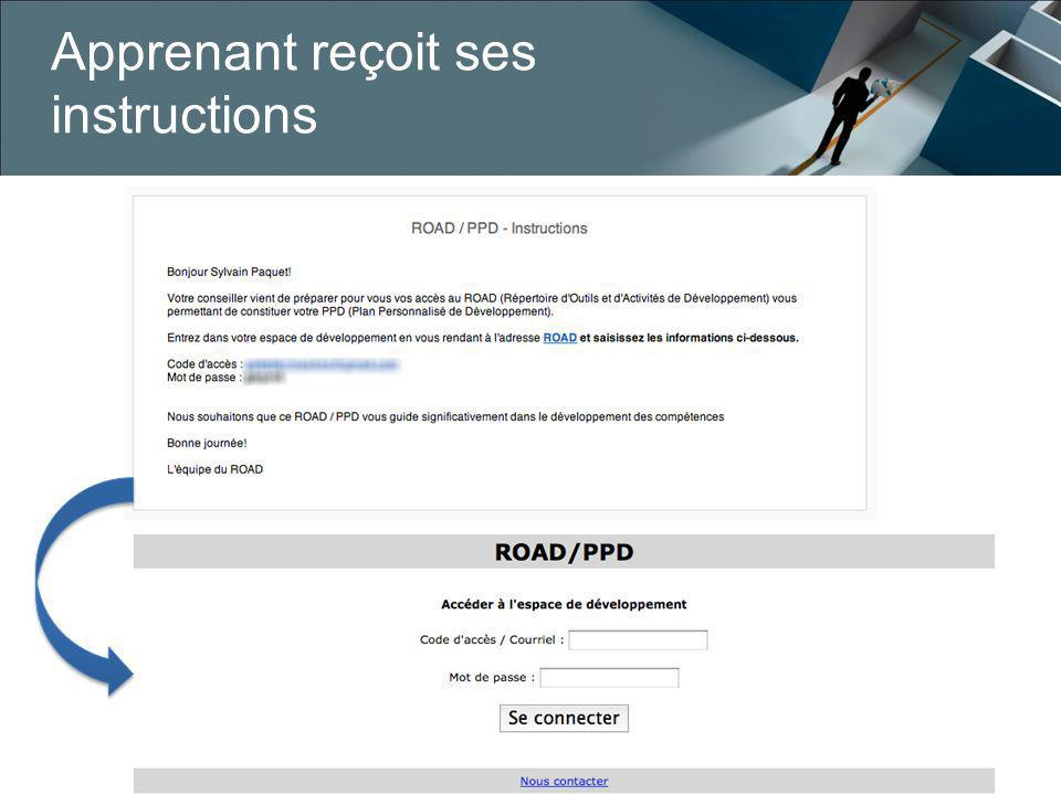 Apprenant reçoit ses instructions