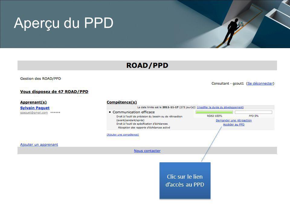 Clic sur le lien d'accès au PPD