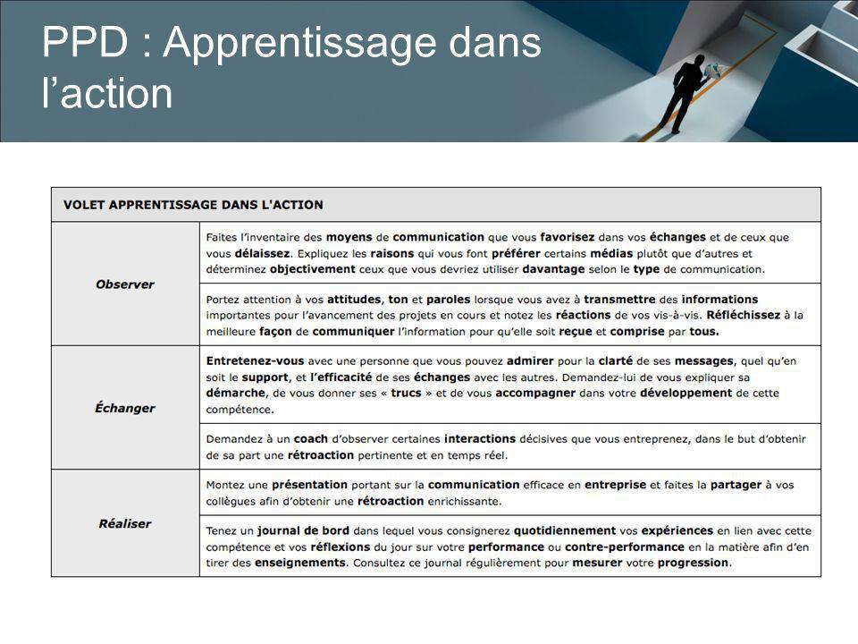 PPD : Apprentissage dans l'action