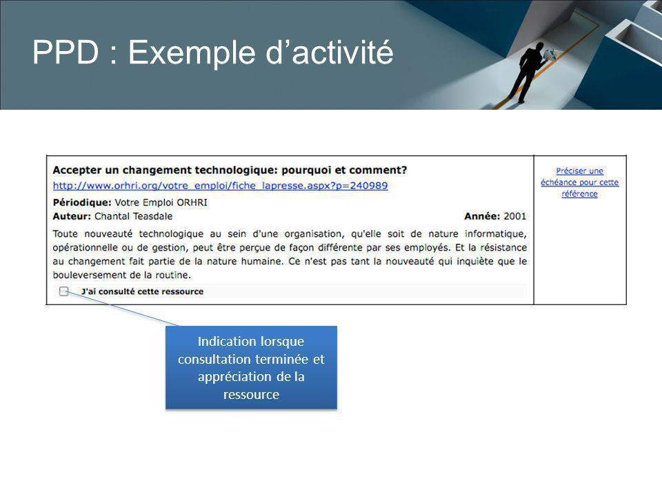 PPD : Exemple d'activité