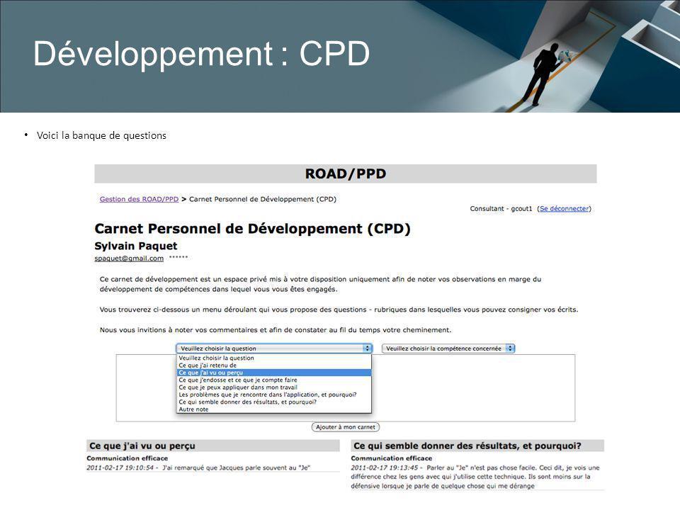 Développement : CPD Voici la banque de questions