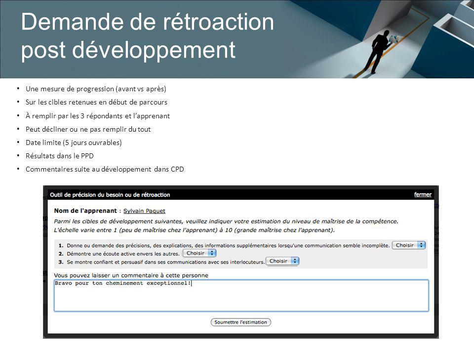 Demande de rétroaction post développement