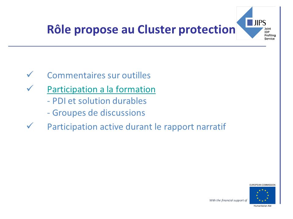 Rôle propose au Cluster protection