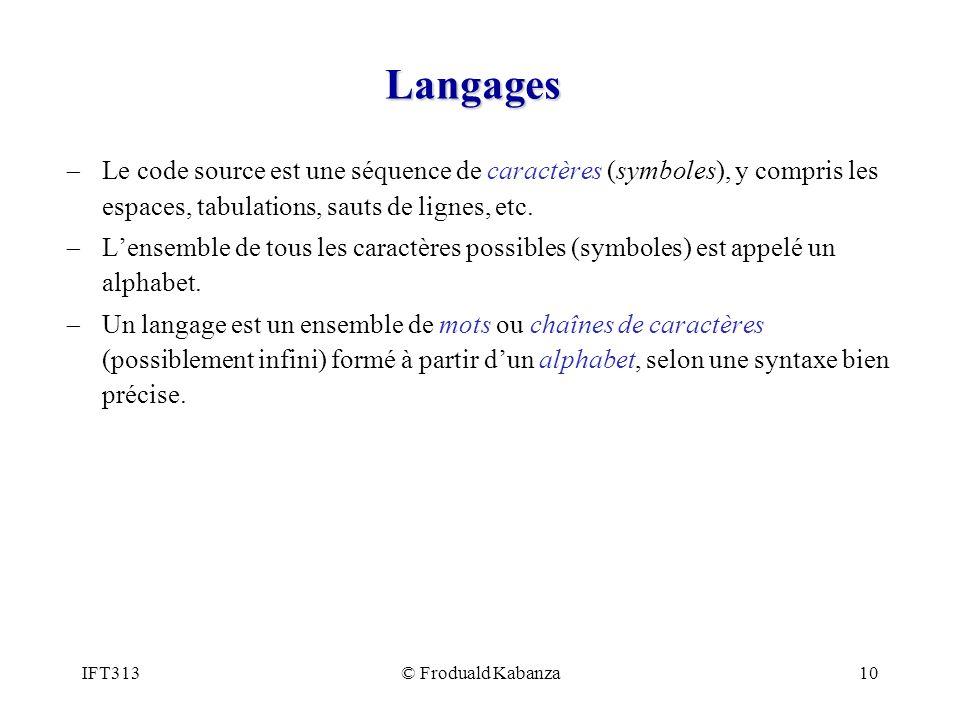 Langages Le code source est une séquence de caractères (symboles), y compris les espaces, tabulations, sauts de lignes, etc.