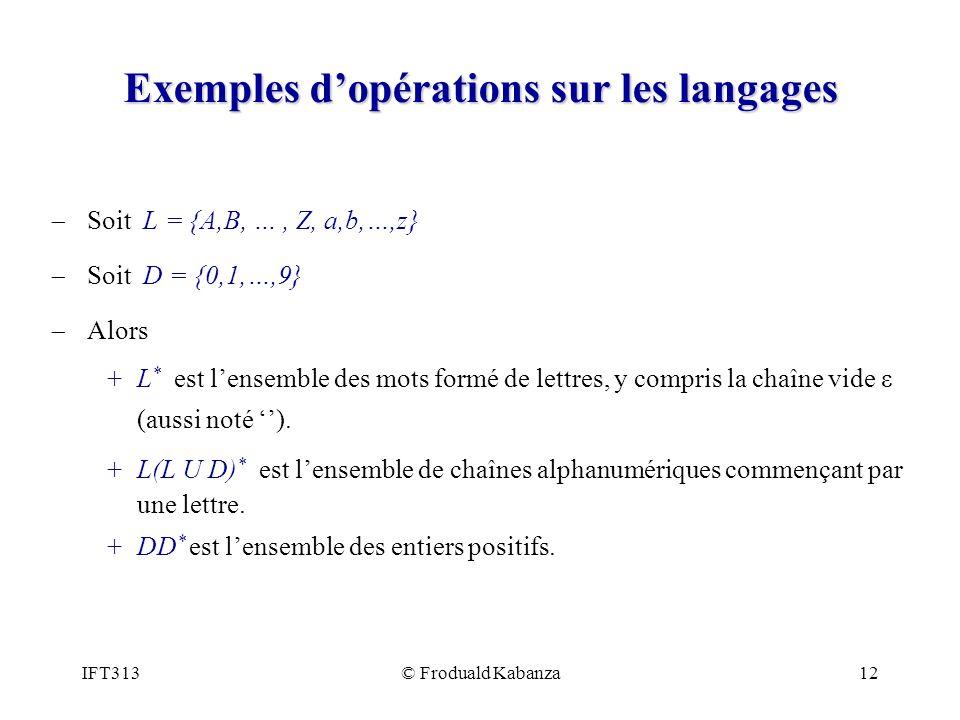 Exemples d'opérations sur les langages