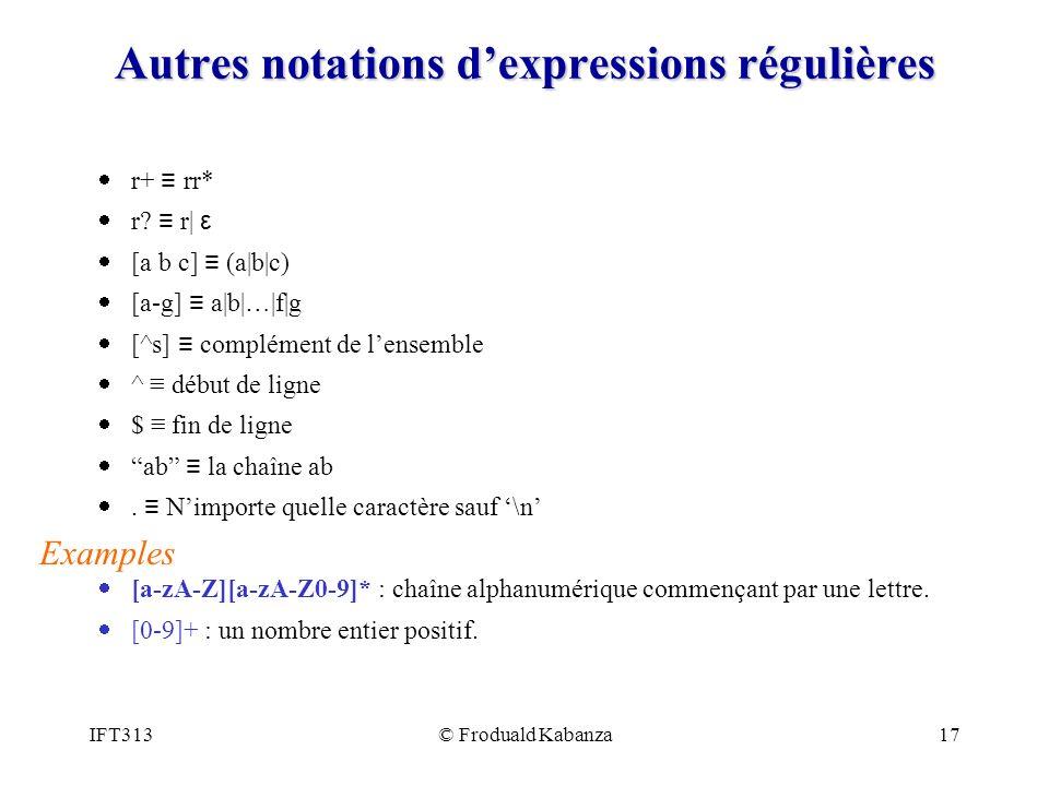 Autres notations d'expressions régulières