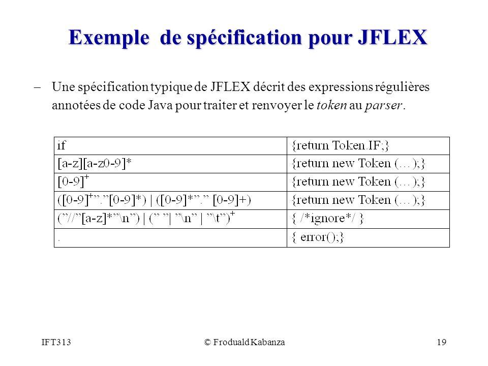 Exemple de spécification pour JFLEX