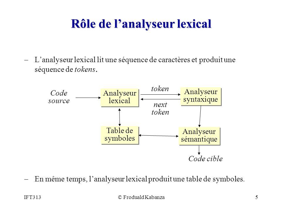 Rôle de l'analyseur lexical
