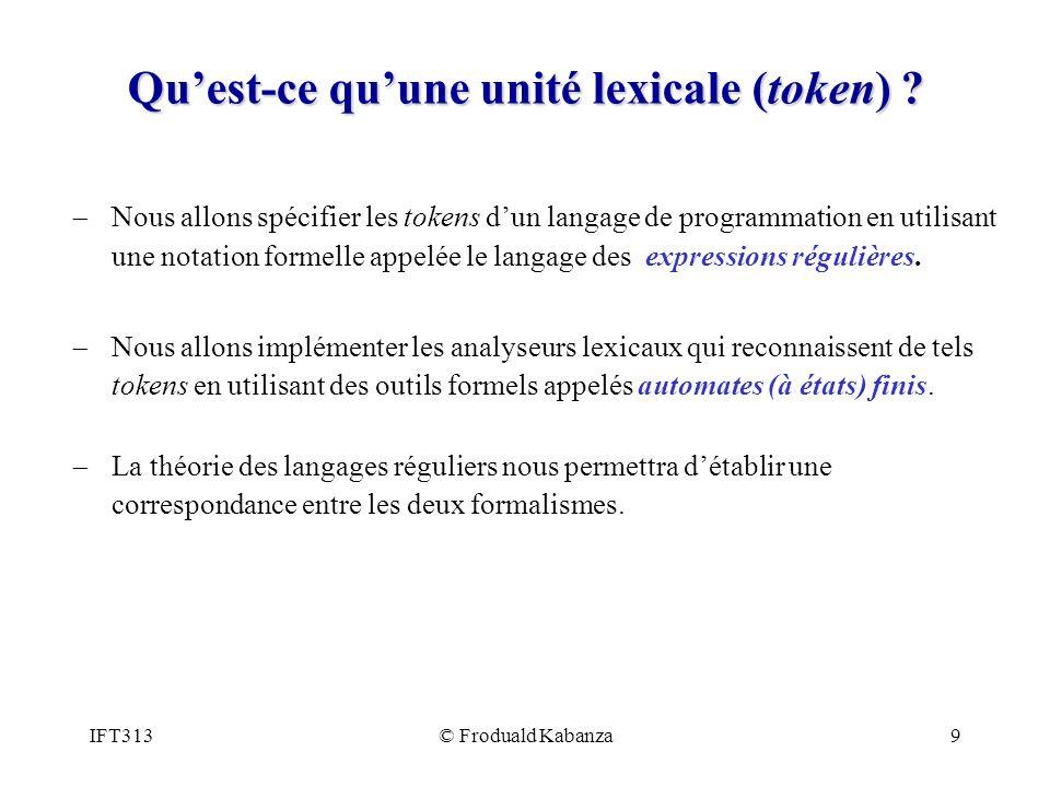 Qu'est-ce qu'une unité lexicale (token)