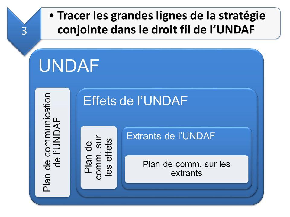 3 Tracer les grandes lignes de la stratégie conjointe dans le droit fil de l'UNDAF. UNDAF. Plan de communication de l'UNDAF.