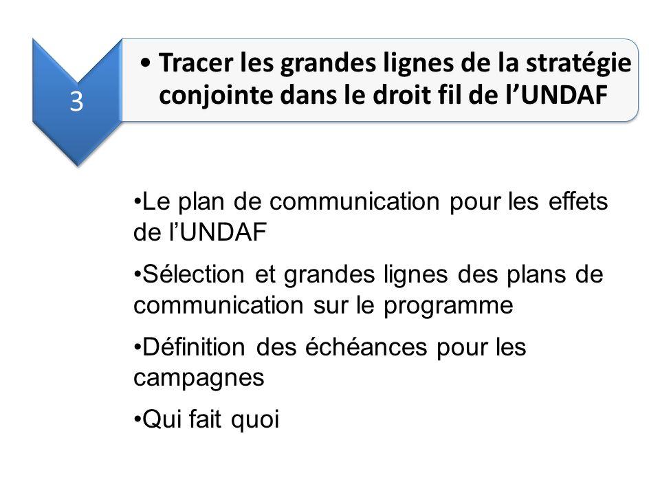 3 Tracer les grandes lignes de la stratégie conjointe dans le droit fil de l'UNDAF. Le plan de communication pour les effets de l'UNDAF.