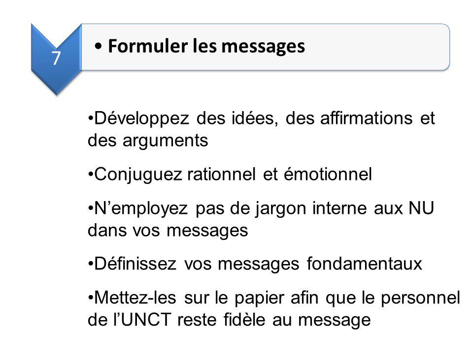 7 Formuler les messages. Développez des idées, des affirmations et des arguments. Conjuguez rationnel et émotionnel.