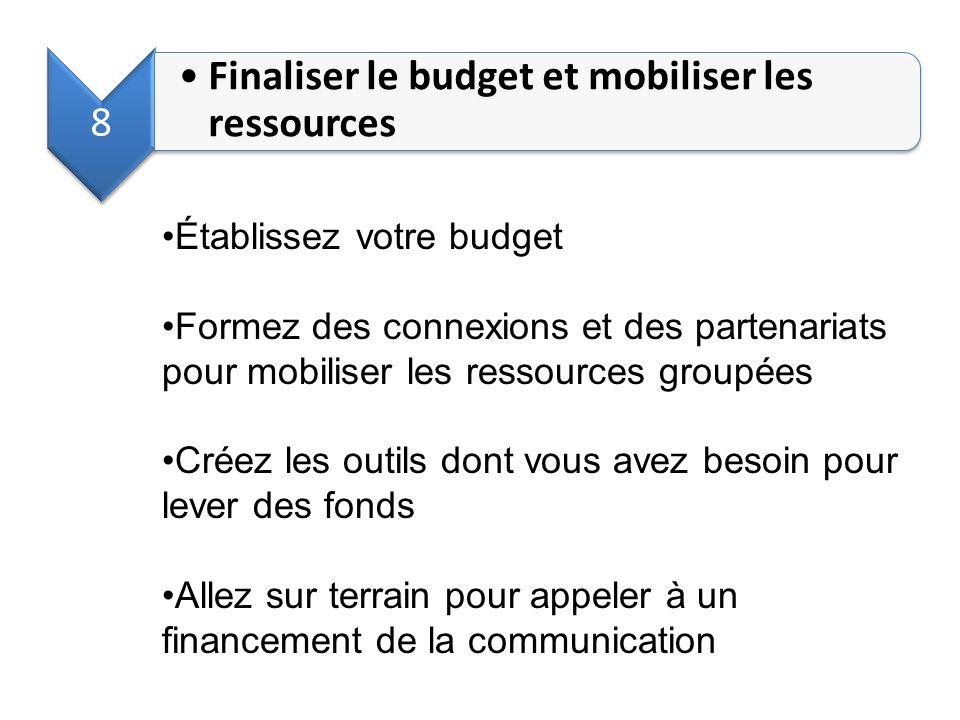 Finaliser le budget et mobiliser les ressources