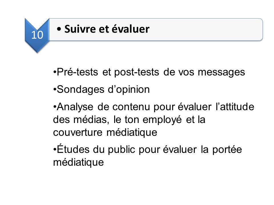 Suivre et évaluer 10 Pré-tests et post-tests de vos messages
