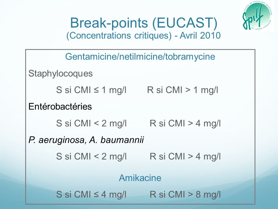 Break-points (EUCAST) (Concentrations critiques) - Avril 2010