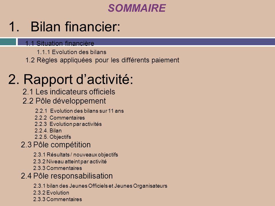 Bilan financier: 2. Rapport d'activité: SOMMAIRE