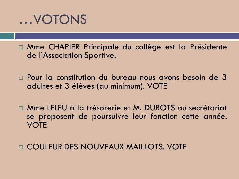 …VOTONS Mme CHAPIER Principale du collège est la Présidente de l'Association Sportive.