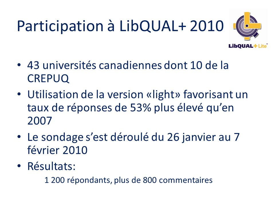 Participation à LibQUAL+ 2010