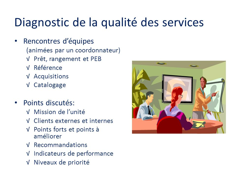 Diagnostic de la qualité des services