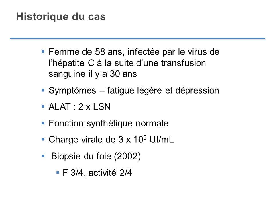 Historique du cas Femme de 58 ans, infectée par le virus de l'hépatite C à la suite d'une transfusion sanguine il y a 30 ans.