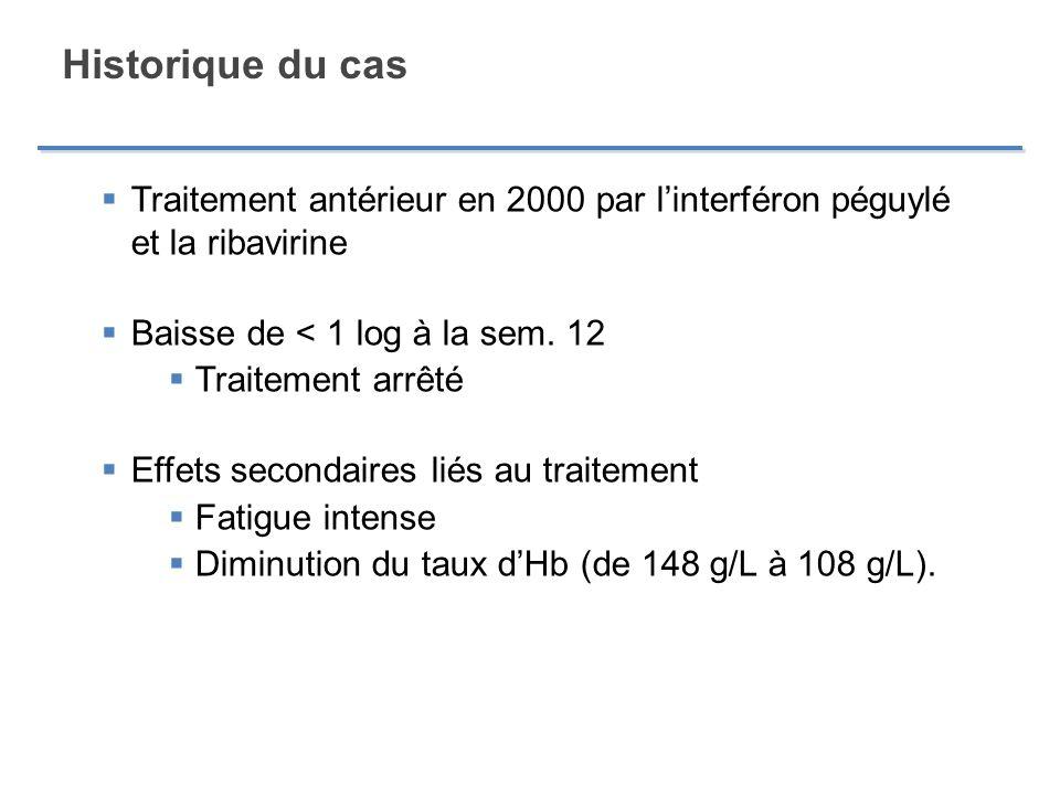 Historique du cas Traitement antérieur en 2000 par l'interféron péguylé et la ribavirine. Baisse de < 1 log à la sem. 12.