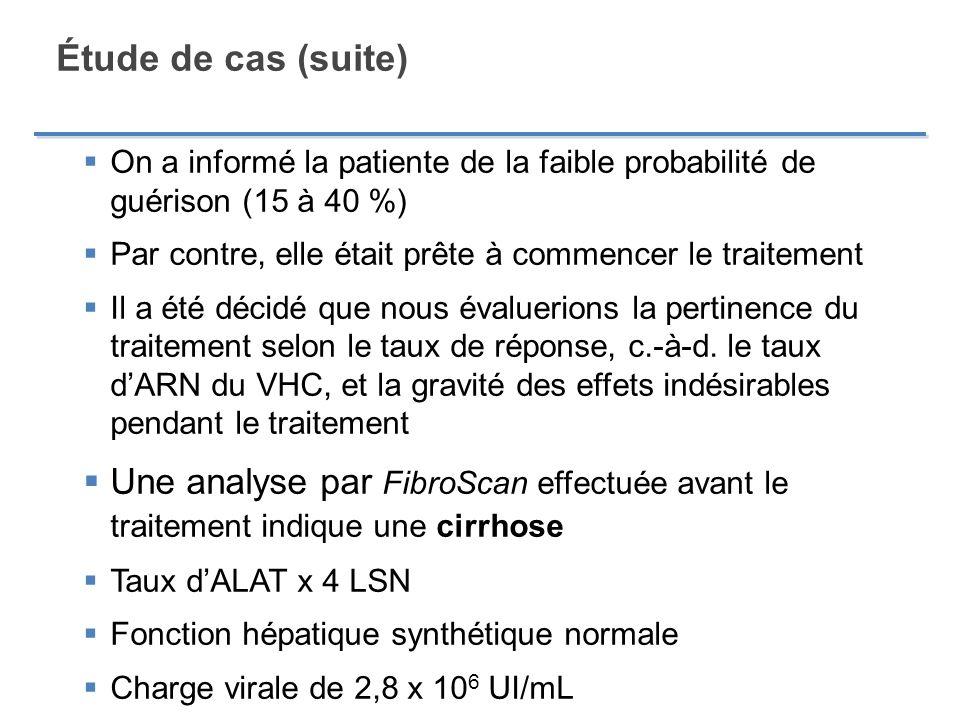 Étude de cas (suite) On a informé la patiente de la faible probabilité de guérison (15 à 40 %)