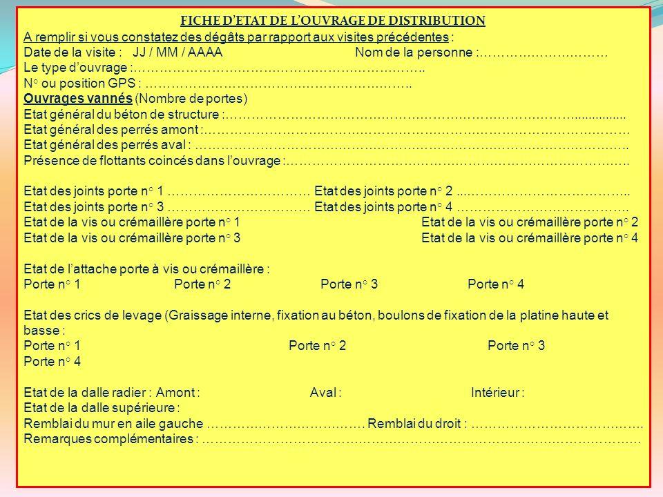 FICHE D'ETAT DE L'OUVRAGE DE DISTRIBUTION