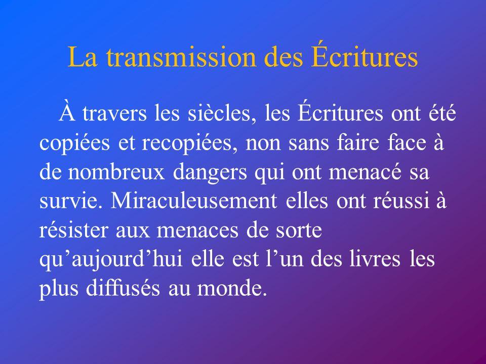 La transmission des Écritures