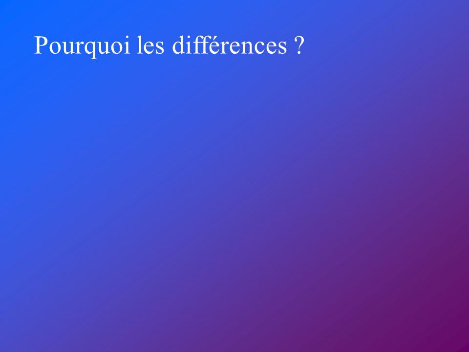 Pourquoi les différences