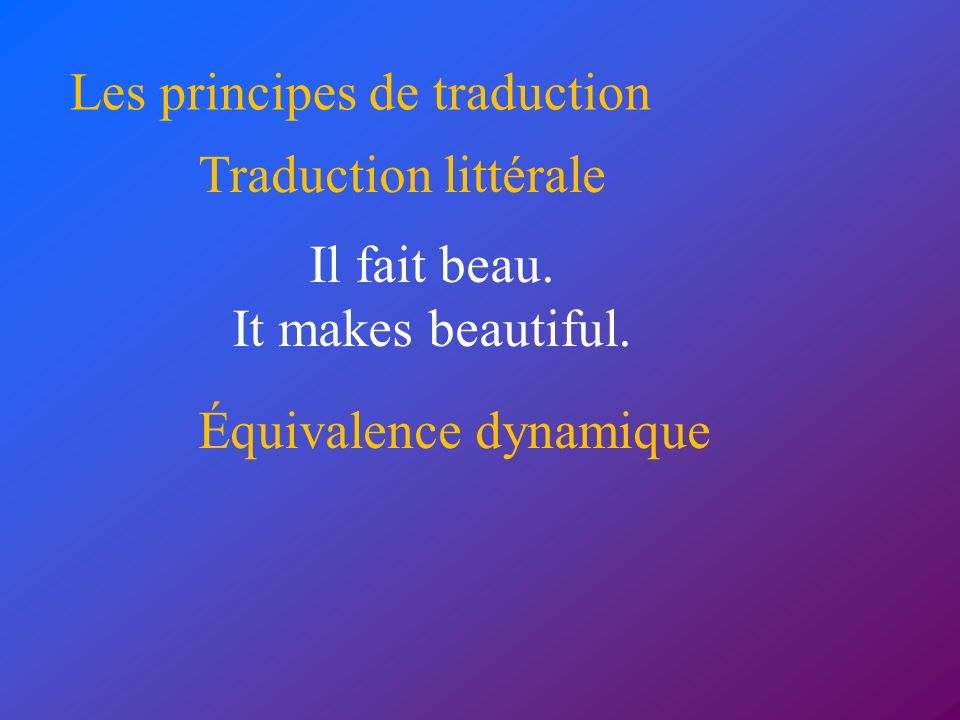 Les principes de traduction