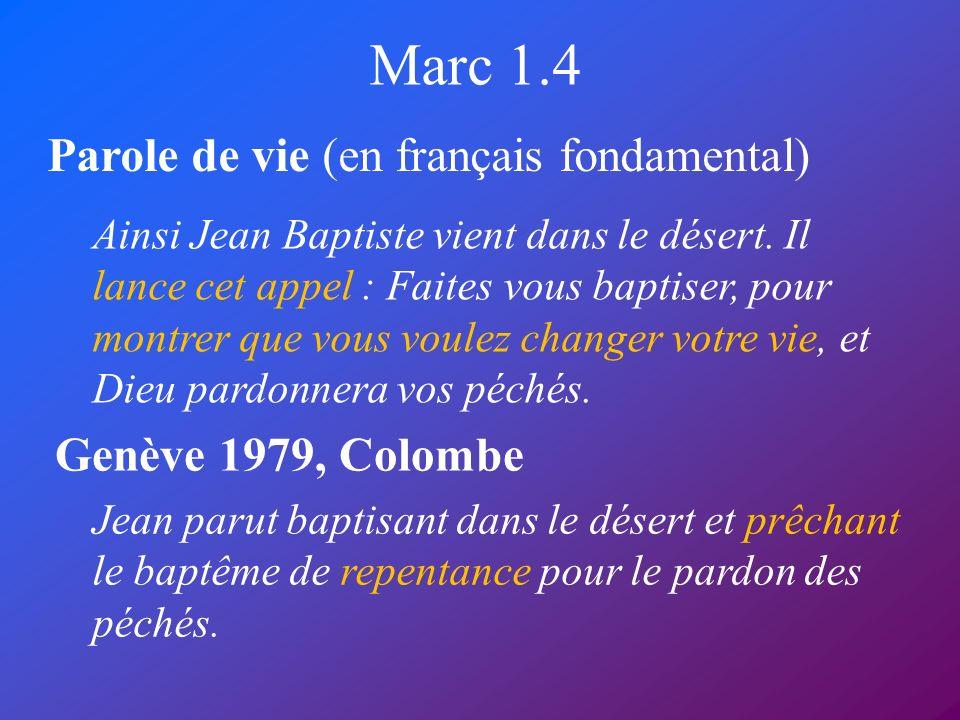 Marc 1.4 Parole de vie (en français fondamental) Genève 1979, Colombe