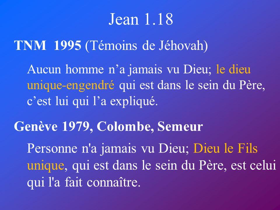 Jean 1.18 TNM 1995 (Témoins de Jéhovah) Genève 1979, Colombe, Semeur