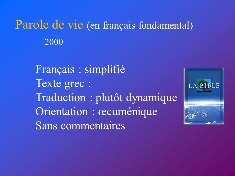 Parole de vie (en français fondamental)