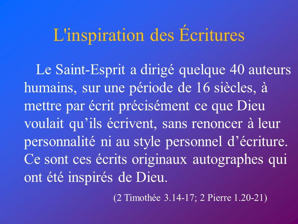 L inspiration des Écritures